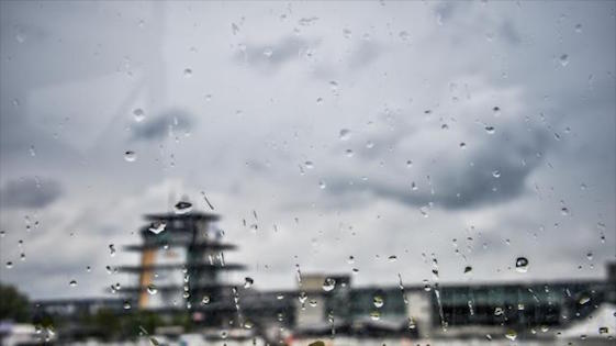 Rain halted on-track action at Indianapolis Motor Speedway on Tuesday. (Photo courtesy of INDYCAR)