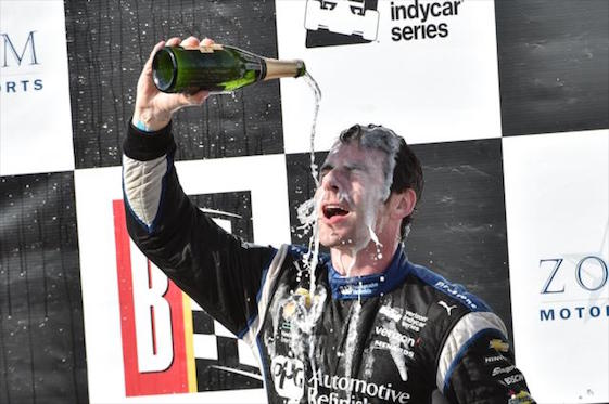 Team Penske driver Simon Pagenaud is hoping milk will replace wine as his drink of choice this month.