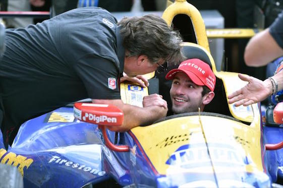 Alexander Rossi is congratulated by team co-owner Michael Andretti after Sunday's win.