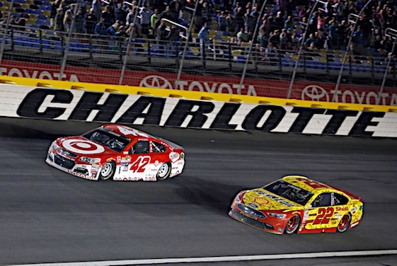 Kyle Larson, 42, and Joey Logano fought each other for the victory in a memorable NASCAR All-Star race on Saturday night. (RacinToday/HHP photo by Alan Marler)
