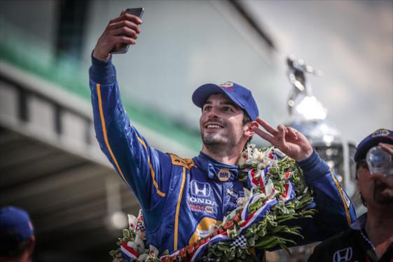 Alexander Rossi takes the ultimate selfie.