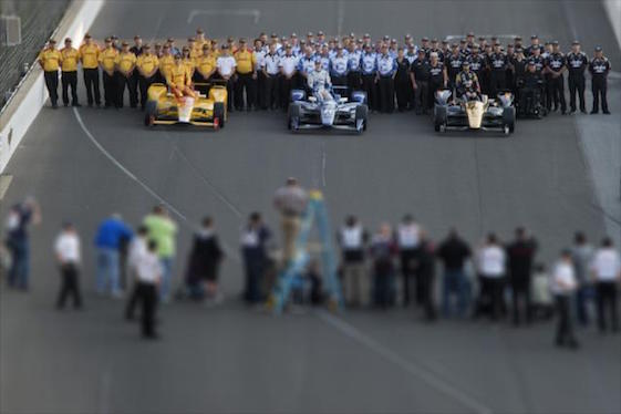 The cars, drivers and teams which qualified for the front row of Sunday's 100th running of the Indianapolis 500 watched the birdie on Monday. They are, left to right, P3 driver Ryan Hunter-Reay of Andretti Autosport, P2 Josef Newgarden of Ed Carpenter Racing and pole-winner James Hinchcliffe of Schmidt Peterson Motorsports. (Photo courtesy of INDYCAR)