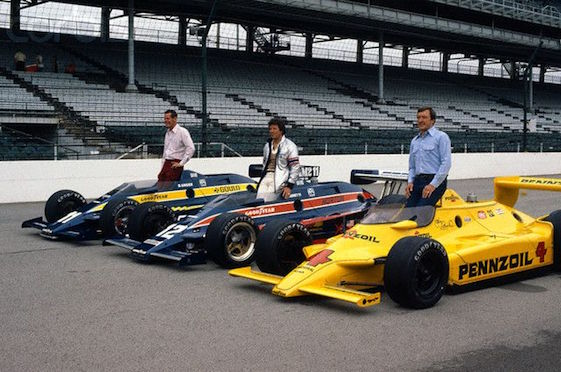 Starting on the front row of the 1980 Indianapolis 500 were three American auto racing giants: Bobby Unser, Mario Andretti and Johnny Rutherford in the famed Roger Penske owned Yellow Submarine.