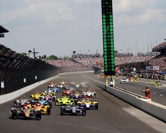 The drop of the green flag at the start of the Indianapolis is one of the most breath taking moments in sports. (Photo courtesy of INDYCAR)