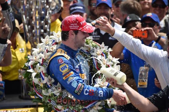 2016 Indianapolis 500 winner Alexander Rossi and the wreath.