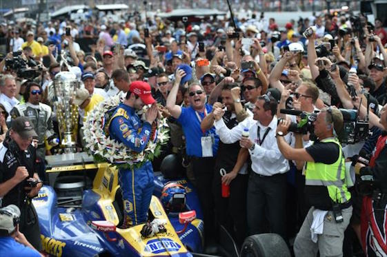 American driver Alexander Rossi catches his breath after Sunday's victory in world's biggest race.