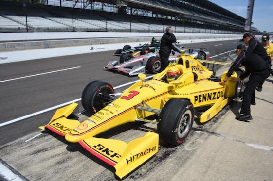 Pit road got real busy, real fast at the Indianapolis Motor Speedway oval on Monday. (Photos courtesy of INDYCAR)