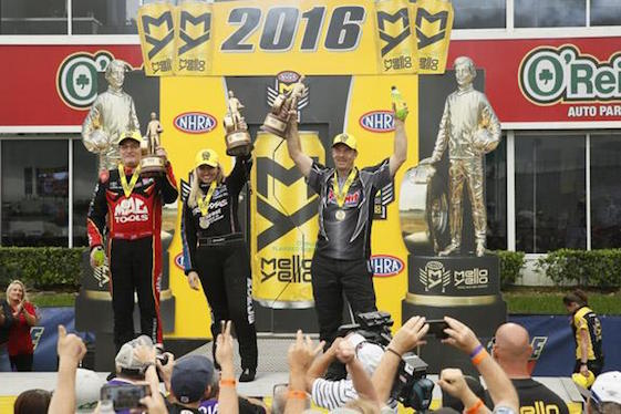 Scott Kalitta, Courtney Force and Gary Anderson raise their Wallys after winning at the Sprint Nationals near Houston.