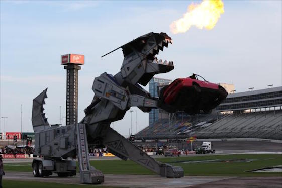 Robosaurus destroyed cars, drivers were introduced and fans sat in seats at Texas Motor Speedway on Saturday night, but actual racing was moved to Sunday because of wet-track conditions. (Photos courtesy of INDYCAR)