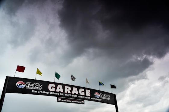 Rain forced the interruption and postponement of the IndyCar Series on June 12. The race will pick up where it left off. (Photo courtesy of INDYCAR)