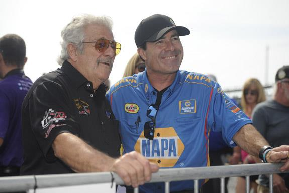 Ron Capps chatted with the legendary Chris Karamesines during a break in the action in Norwalk. When the action had concluded, Capps had notched another Funny Car victory. (Photo courtesy of the NHRA)
