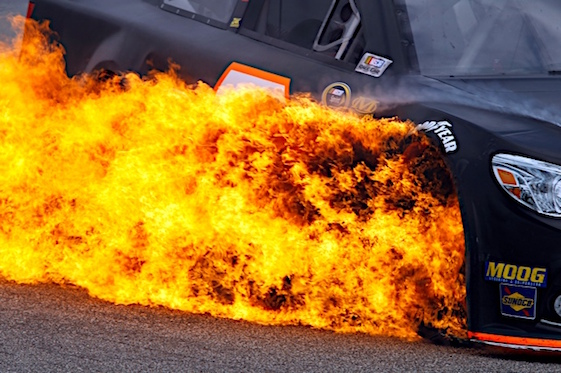 Life among the have-nots can come with some serious problems. A year ago in New Hampshire, things got warm for Alex Bowman. (RacinToday/HHP file photo by Andrew Coppley)