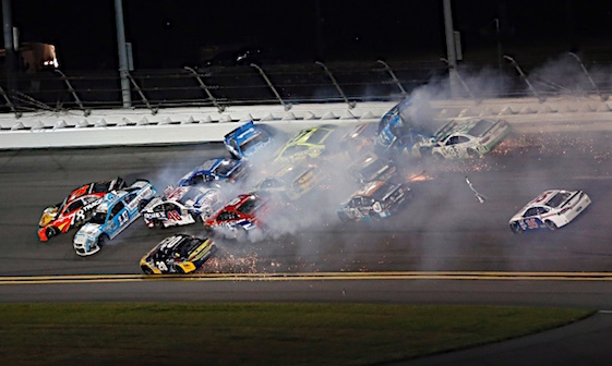 One of the big ones at Daytona on Saturday night. (RacinToday/HHP photo by Andrew Coppley)