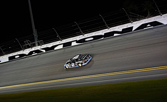 Brad Keselowski found the one safe place to be at Daytona on Saturday night – alone. The Team Penske driver led the most laps, avoided trouble and got the win. (RacinToday/HHP photo by Alan Marler)