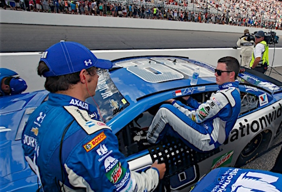 Alex Bowman slid into the No. 88 Hendrick Motorsports Sprint Cup car in Loudon, N.H last month. He's back in the car this weekend. (RacinToday/HHP file photo by Alan Marler)