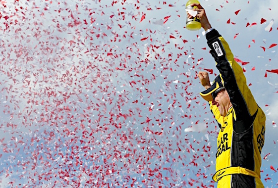 Matt Kenseth celebrates in Victory Lane after winning at New Hampshire Motor Speedway on Sunday. (RacinToday/HHP photo by Ashley R Dickerson)