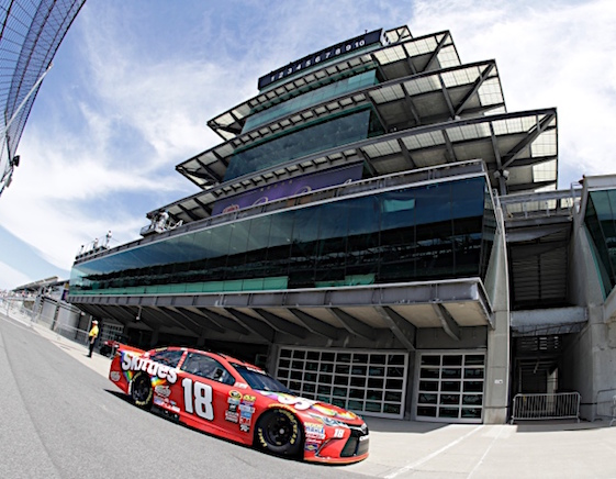 Kyle Busch proved he knows how to qualify at famed Indianapolis Motor Speedway on Saturday. He collected poles in Sprint Cup and Xfinity series. (RacinToday/HHP photo by Harold Hinson)