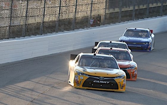 Erik Jones sat at the front of the field for most of the night at Iowa Speedway. He finished there to get his third win of the Xfinity Series season. (RacinToday/HHP photo by Ashley R Dickerson)