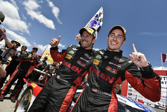 Corvette Daytona Prototype drivers Dane Cameron and Eric Curran combined to score their first IMSA WeatherTech SportsCar Championship victory of the season Sunday in Bowmanville, Ontario. (Scott R LePage LAT Photo USA)