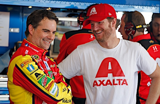 Jeff Gordon and Dale Earnhardt Jr. were all smiles in the garages at The Glen on Saturday. (RacinToday/HHP photo by Alan Marler)