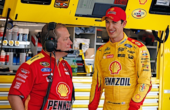 Crew chief Todd Gordon and Joey Logano finished second at Watkins Glen but had a good time doing it. (RacinToday/HHP photo by Alan Marler)