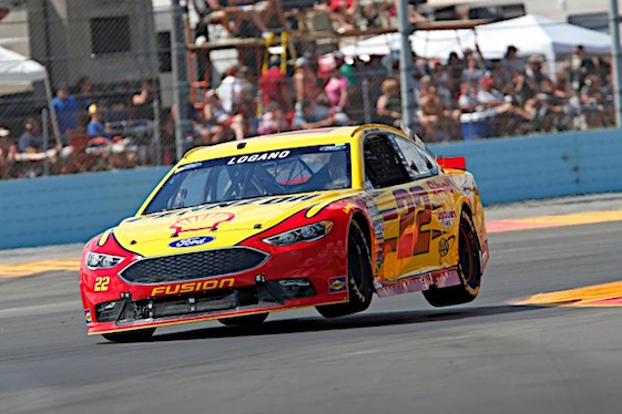 There is nothing dull about racing Sprint Cup cars at Watkins Glen, Joey Logano said after Sunday's race. (RacinToday/HHHP photo by Alan Marler)