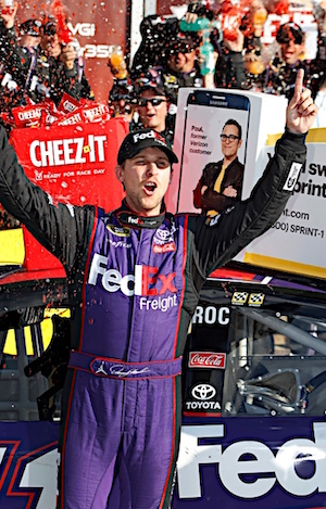 Denny Hamlin awoke with severe back pain on Sunday. He went to sleep with his second wins of the season on Sunday night. (RacinToday/HHP photo by Alan Marler)