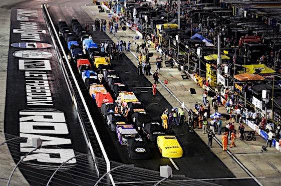 The Sprint Cup race at Bristol was stopped and postponed by rain on Saturday night. It will be run on Sunday. (RacinToday/HHP photo)