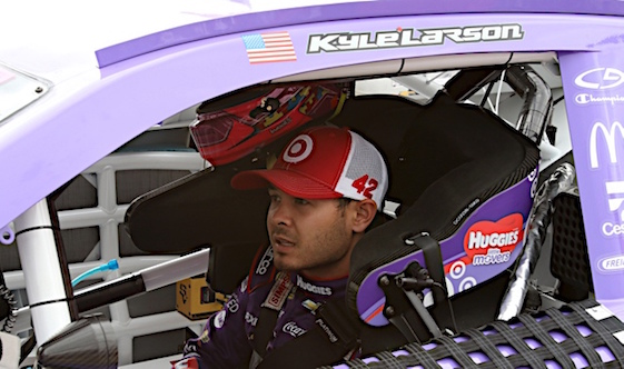 Kyle Larson got his first Sprint Cup Series victory on Sunday in Michigan.