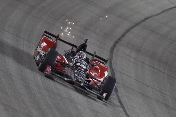 The sparks flew as Graham Rahal changed to a narrow victory in Saturday night's IndyCar Series race at Texas Motor Speedway. The race began in but was interrupted by rain and was finished on Saturday. (Photos courtesy of INDYCAR)