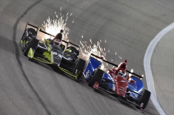 Charlie Kimball and Mikhail Aleshin go wheel to wheel in Texas.