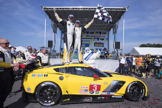 Corvette Drivers Jan Magnussen and Antonio Garcia celebrate their GTLM victory at VIR on Sunday. (Richard Prince/Chevrolet photo).