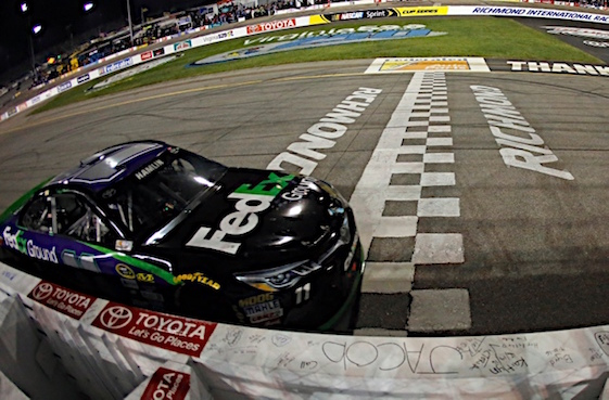 Denny Hamlin hits the finish line to win at Richmond on Saturday night. (RacinToday/HHP photo by Alan Marler)