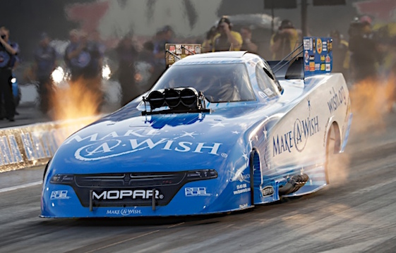 Tommy Johnson Jr. took the lead in Funny Car qualifying in Concord on Friday. (RacinToday/HHP photo by Harold Hinson)