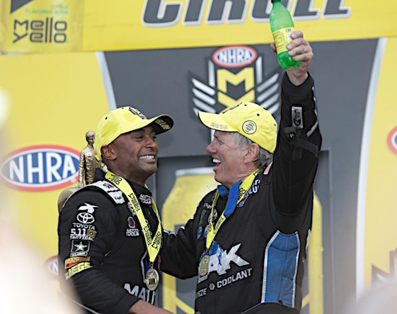 Antron Brown and John Force added to their resumes on Sunday when they won the Countdown-opeing Carolina Nationals. (RacinToday/HHP photo by Harold Hinson)