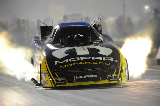 Matt Hagan moved to the provisional pole in Funny Car at the U.S. Nationals on Friday. (Photo courtesy of the NHRA)