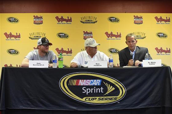 Dr. Micky Collins, right of the University of Pittsburgh Medical Center Sports Medicine Concussion Program, appeared with Dale Earnhardt Jr. and Rick Hendrick at a press conference in Darlington on Sunday. They all talked about Earnhardt's health and future.