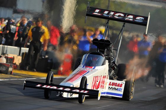 Richie Crampton will start from the Top Fuel pole at Gateway on Sunday.