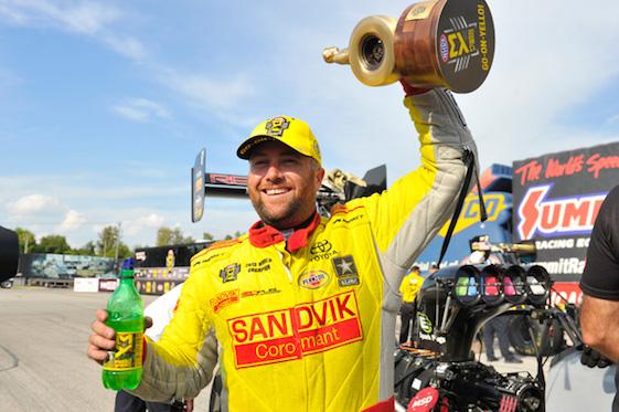 Shawn Langdon was Top Fuel winner at Gateway Motorsports Park on Sunday. (Photo courtesy of the NHRA Mello Yello Drag Racing Series)