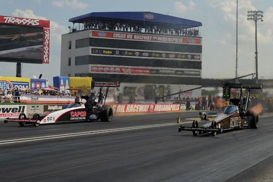 Tony Schumacher used a hole shot to beat Steve Torrence in the Top Fuel finals at the U.S. Nationals on Monday. (Photos courtesy of the NHRA Mello Yello Drag Racing Series)