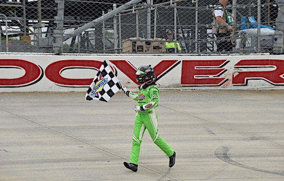 Daniel Suarez takes a victory jog after winning at Dover on Sunday. (RacinToday/HHP photo by David Tulis)