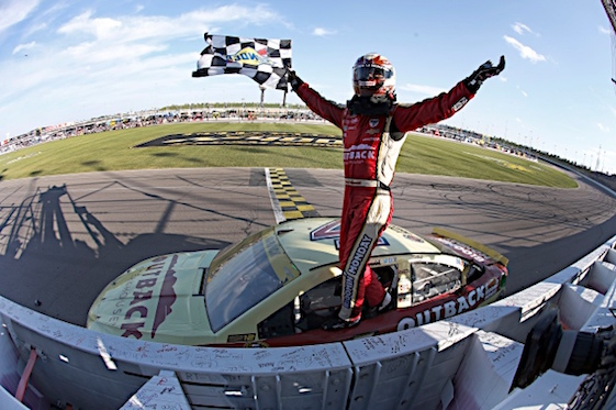 Kevin Harvick earned entry into the Round of Eight in the Chase for the Sprint Cup Championship with a victory at Kansas Speedway on Sunday.(RacinToday/HHP photo by Alan Marler)
