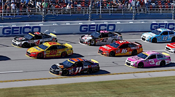 Denny Hamlin of Joe Gibbs Racing was left on his own in some very danger territory on Sunday at Talladega. (RacinToday/HHP photo by Alan Marler)