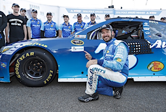 Martin Truex Jr. fell out of contention for the Sprint Cup championship last week but that doesn't mean he's giving up on the season. Witness his pole victory this weekend at Martinsville. (RacinToday/HHP photo by Harold Hinson)