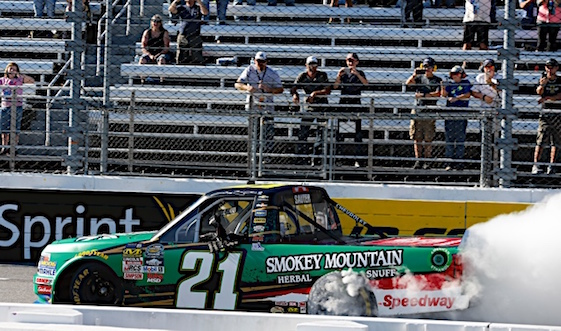 Trucker Johnny Sauter arrived in Texas in great Chase position after winning at Martinsville last weekend. (RacinToday/HHP file photo bys Andrew Coppley)