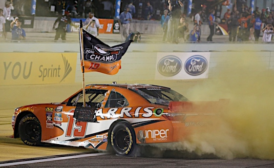 Mexico native Daniel Suarez won the inaugural Xfinity Series Chase championship on Saturday. (RacinToday/HHP photo by Andrew Coppley)