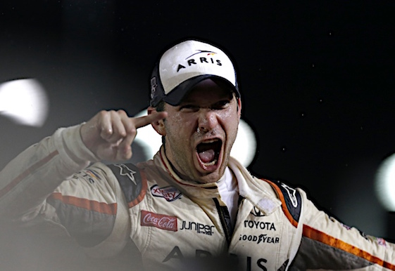 Daniel Suarez celebrates his Xfinity Series championship. (RacinToday/HHP photo by Garry Eller)