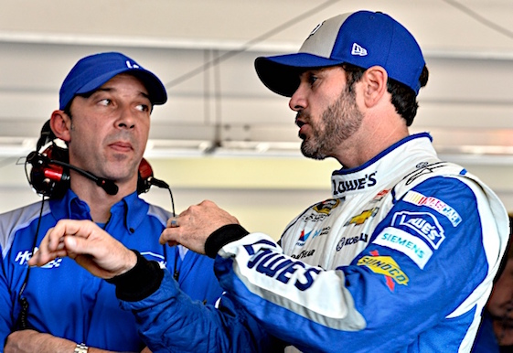 Speed was hard to find for championship contender Jimmie Johnson and crew chief Chad Knaus on Friday in Homestead. (RacinToday/HHP photo by Rusty Jarrett)