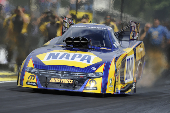 Ron Capps looks to be a strong bet to win this year's NHRA Funny Car championship this weekend in Pomona. (File photo courtesy of the NHRA Mello Yello Drag Racing Series)