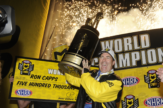 Ron Capps is no longer Mr. Second Place. He picked up enough points in qualifying on Saturday at Pomona to win his first NHRA Funny Car championship.